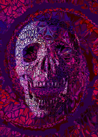 Abstract colorful stylized human skull on fantacy spiral element background with red pink and purple color tone 向量圖像
