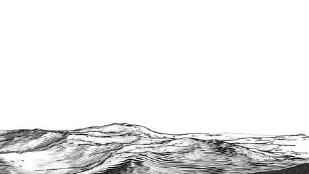 Abstract monochrome engraved drawing rough rocky sand ground vintage woodcut style foreground landscape isolated on white blank space background Illustration