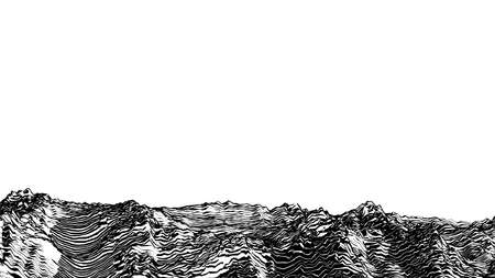 Abstract monochrome engraved drawing rough rocky ground vintage woodcut style foreground landscape isolated on white blank space background Vecteurs