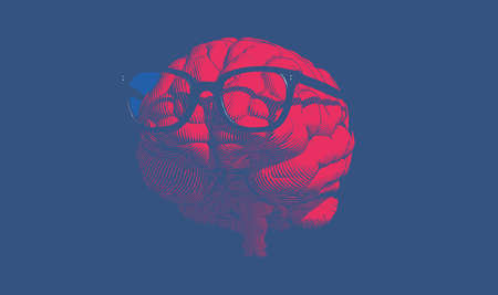 Bright red glyph engraved human brain with retro old glasses illustration in front view isolated on deep blue background