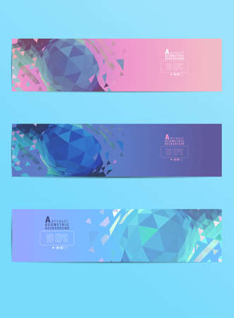 Abstract colorful pastel polygonal triangle geometric sphere element design vector illustration banner set background