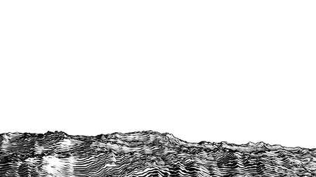 Abstract monochrome engraved drawing rough rocky ground vintage woodcut style foreground landscape isolated on white blank space background