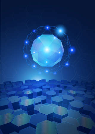 Abstract sphere with glowing connection dots wireframe and hexagonal background on dark blue tone science and technology conceptual