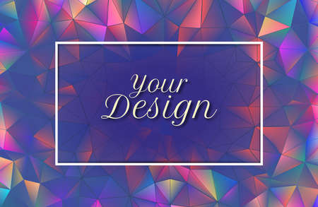 Abstract colorful crystal spectrum rainbow holographic low polygonal illuminated background with blank blue purple space for text copy