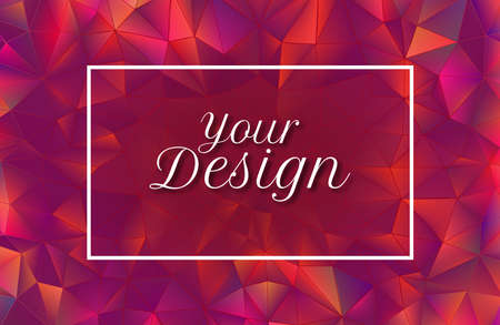 Abstract colorful red crystal low polygonal illuminated background with blank red space for text copy