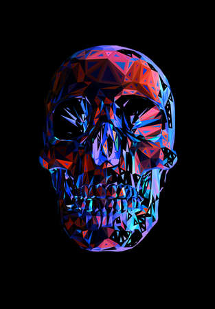 Abstract colorful triangle polygonal geometric human skull vector illustration isolated and glow in the dark background Ilustrace