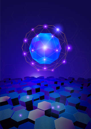 Abstract sphere and glowing wireframe connection on blue purple tone hexagon shape with science and technology conceptual A4 size vector illustration background