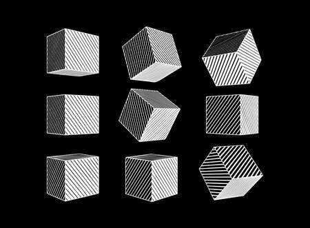 Monochrome white engraved drawing abstract geometric cube set with various perspective views isolated on black background