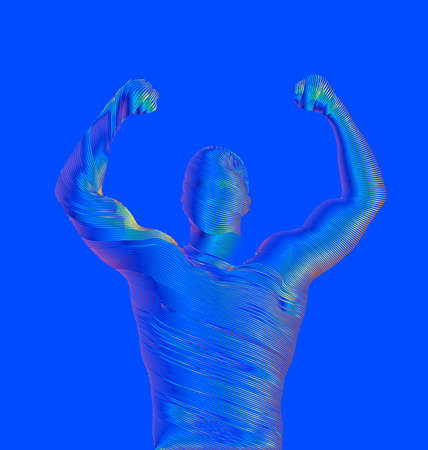 Abstract colorful rainbow engraved retro line drawing strong man lift up hand and showing muscle vector illustration isolated on blue background Stock Illustratie
