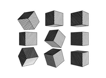Monochrome black engraved drawing abstract geometric cube set with various perspective views isolated on white background