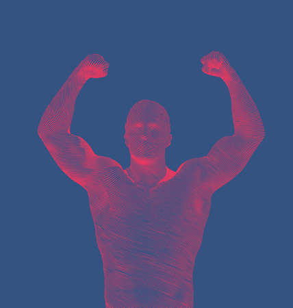 Bright red abstract engraved retro drawing strong man lift up hand and showing muscle isolated on deep blue background