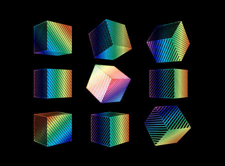 Colorful spectrum engraved line drawing abstract geometric cube set with various perspective views isolated on black background Ilustrace