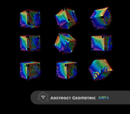 Colorful spectrum rainbow abstract geometric cube with sci fi technology greeble pattern texture various views isolated on black background