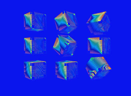 Colorful spectrum rainbow abstract geometric cube with sci fi technology greeble pattern texture various views isolated on blue background Ilustrace