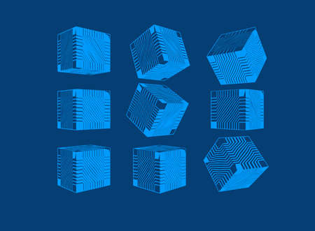 Light blue engraved abstract geometric cube with sci fi technology greeble pattern texture various views isolated on deep blue background Ilustrace