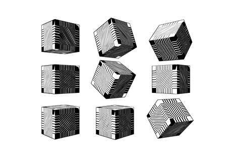 Monochrome black engraved drawing abstract geometric cube with sci fi technology greeble pattern texture various views isolated on white background Ilustrace