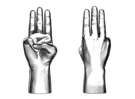 Monochrome engraved vintage drawing abstract cut off human hand showing three fingers close gesture vector illustration front and back views isolated on white background