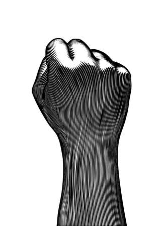 Monochrome vintage engraved drawing back hand fist gesture vector illustration dark woodcut style isolated on white background Ilustrace