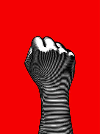 Monochrome vintage engraved drawing back hand fist gesture vector illustration dark woodcut style isolated on red background
