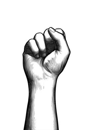 Monochrome vintage engraved drawing front of forearm and hand fist gesture vector illustration isolated on white background
