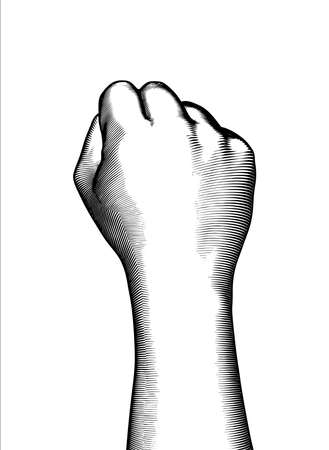 Monochrome vintage engraved drawing of right back hand fist gesture and arm wrist vector illustration isolated on white background