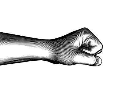Monochrome vintage engraved line art drawing side arm and hand fist punching gesture vector illustration isolated on white background Ilustrace