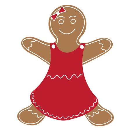 Gingerbread Woman Cookie Illustration. Illusztráció