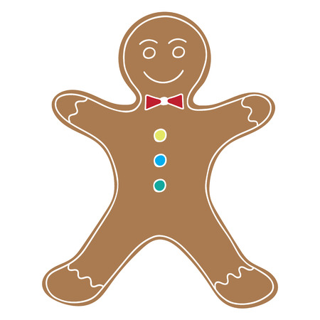 Gingerbread Man Cookie Illustration.