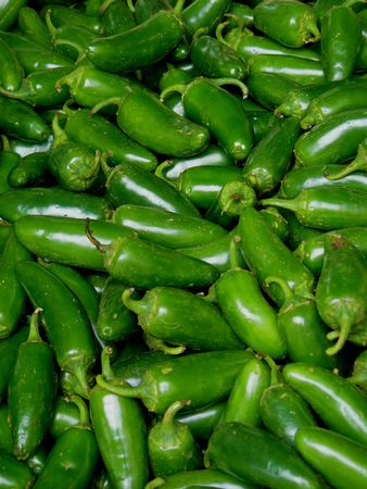 Jalapeno peppers for sale in a farmers market