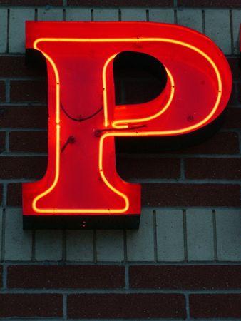 Neon Uppercase P