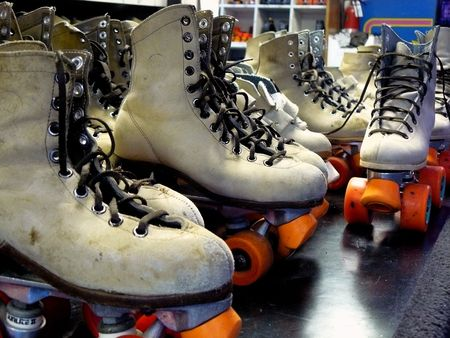 roller skates: Rental Roller Skates Stock Photo