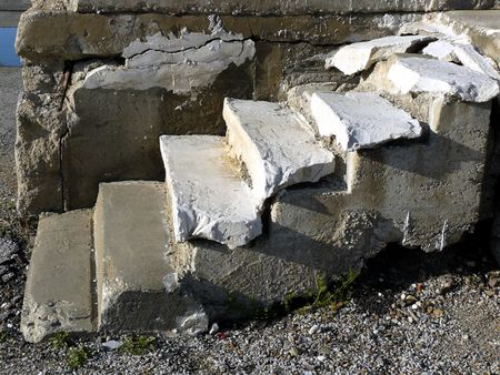 crumbling: Crumbling Concrete Staircase Stock Photo