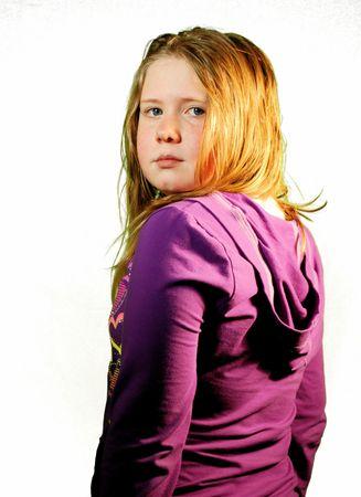 Tween Girl Looking Over Her Shoulder