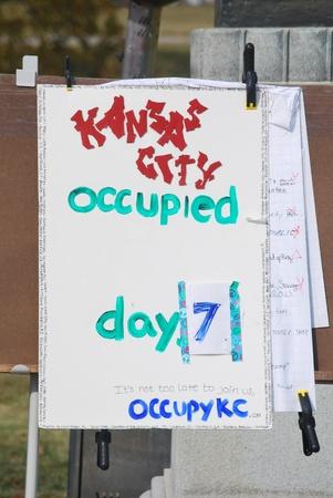 Occupy Kansas City Sign Editöryel