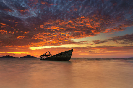 wrecked: The wrecked ship at sunrise
