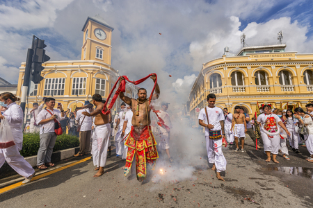 religion ritual: Vegetarian Festival Phuket Thainad Editorial