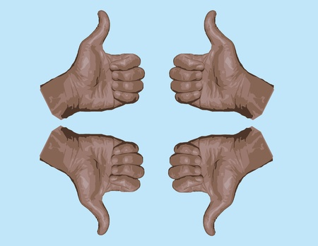 Thumbs up hand gesture and its reflections.Saved as AI8 EPS vector with high resolution jpg. In EPS format, elements are layered separately and can change the color easily.   Vector
