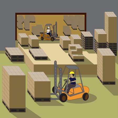 machine operator:  Vector illustration of forklift operators in a warehouse.