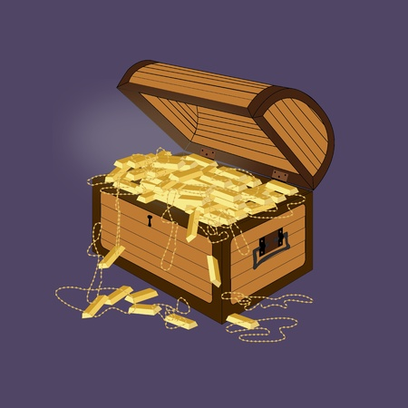 gold treasure: Vector illustration of a treasure chest with gold treasure inside.  Illustration