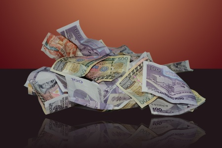 Bills, banknotes, currency of the Philippines(clipping path included). photo