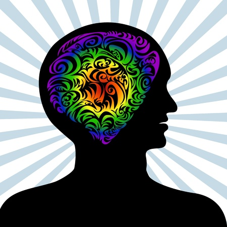 Conceptual illustration of a human mind. Gradients used in brain. Stock Vector - 12136811