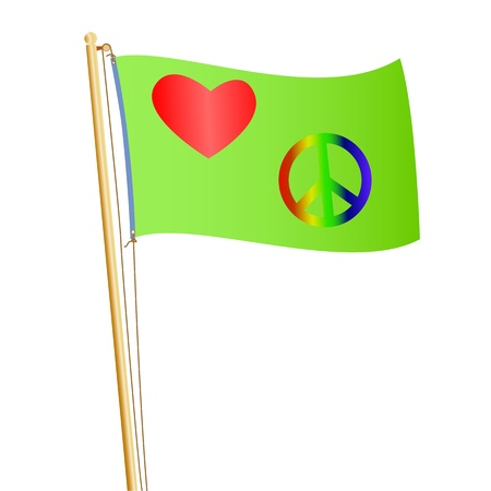 Conceptual illustration of a flag with heart and peace symbol on it. Stock Vector - 12136812