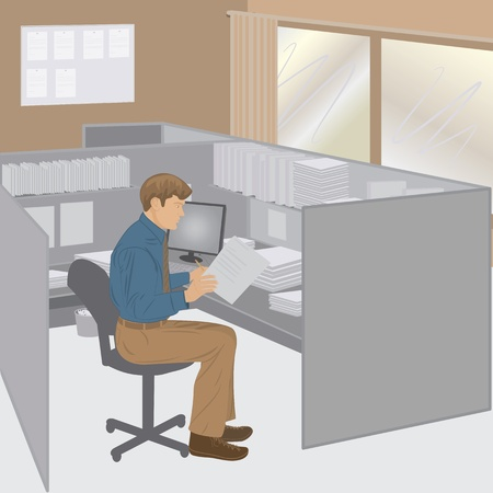 graphic illustration of a male office worker in his cubicle. Vector