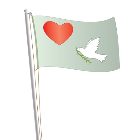 peace flag: Graphic illustration of love and peace flag with heart and dove in it.