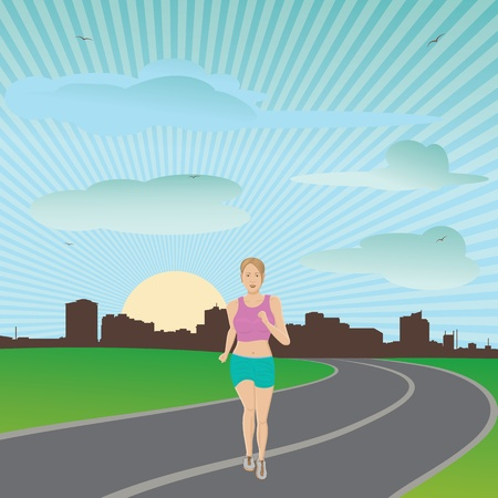 illustration of attractive healthy living woman jogging early morning