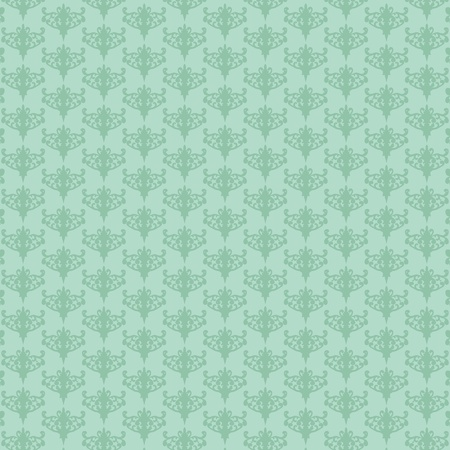 mint leaves: vector illustration of repeating retro mint-green background  Illustration