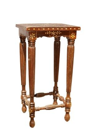 inlay:  vintage stool with white bone inlay