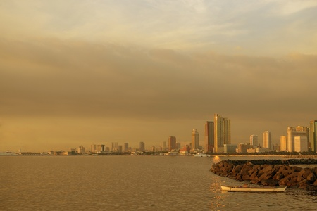 water scape: Manila Philippines, city skyline view from manila bay  Stock Photo
