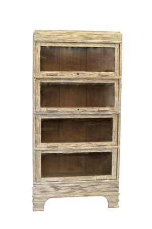 restored, distressed antique bookcase isolated in white background