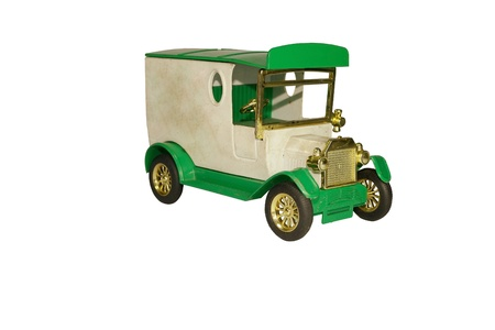 plactic: vintage toy truck isolated in white background Stock Photo